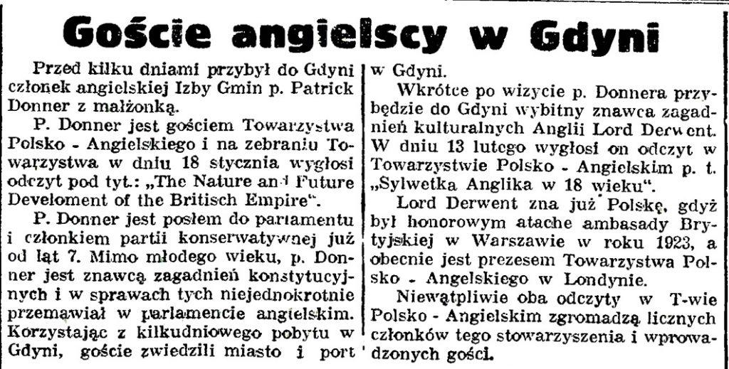 Goście angielscy w Gdyni // Gazeta Gdańska. - 1939, nr 14, s. 7