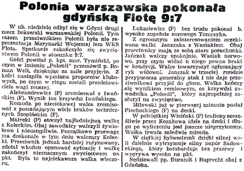Polonia warszawska pokonała gdyńską Flotę 9:7 // Gazeta Gdańska. - 1939, nr 15, s. 4