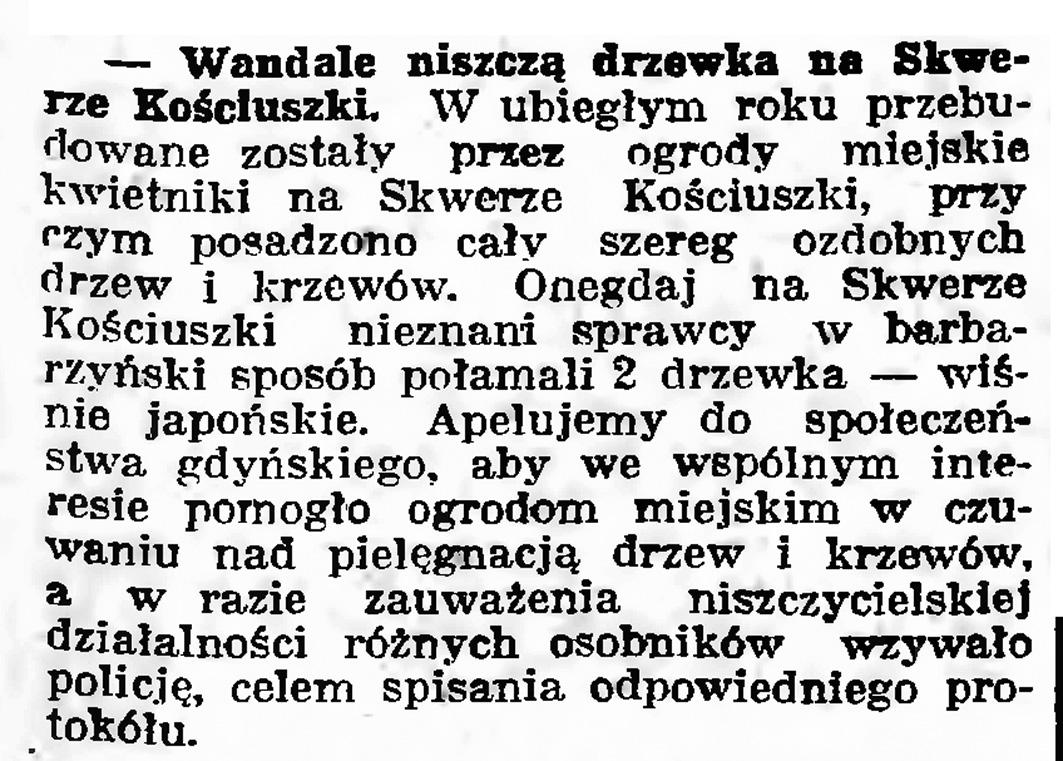 Wandale niszczą drzewka na Skwerze Kościuszki // Gazeta Gdańska. - 1939, nr 15, s. 7