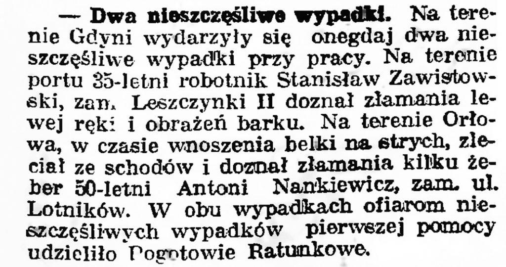 Dwa nieszczęśliwe wypadki // Gazeta Gdańska. - 1939, nr 15, s. 7