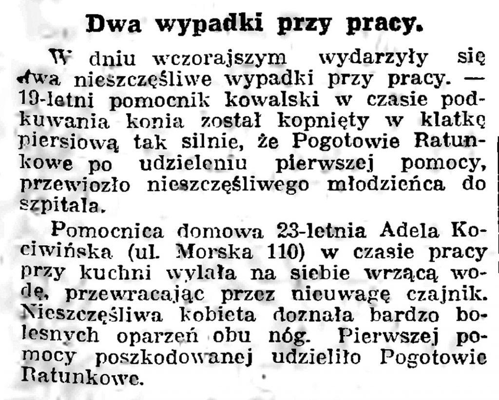 Dwa wypadki przy pracy // Gazeta Gdańska. - 1939, nr 17, s. 7