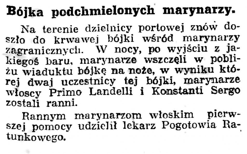 Bójka podchmielonych marynarzy // Gazeta Gdańska. - 1939, nr 17, s. 7