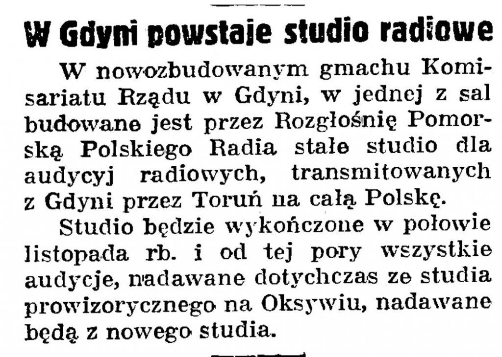 W Gdyni powstaje studio radiowe // Gazeta Gdańska. - 1939, nr 250, s. 6