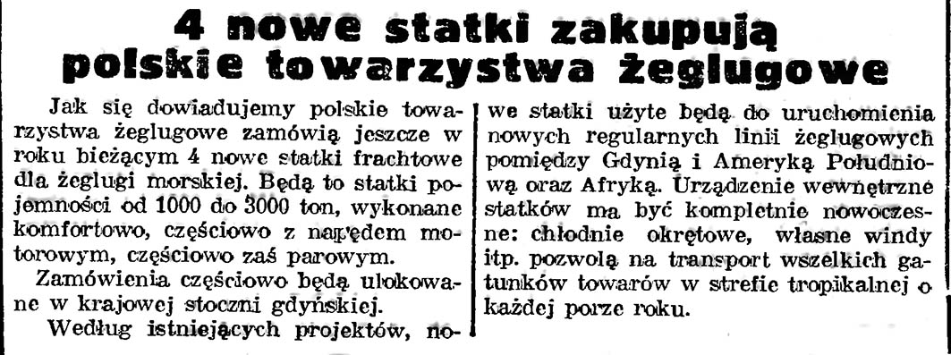 4 nowe statki zakupują polskie towarzystwa żeglugowe // Gazeta Gdańska. - 4 nowe statki zakupują polskie towarzystwa żeglugowe // Gazeta Gdańska. - 1939, nr 252, s. 21939, nr 252, s. 2