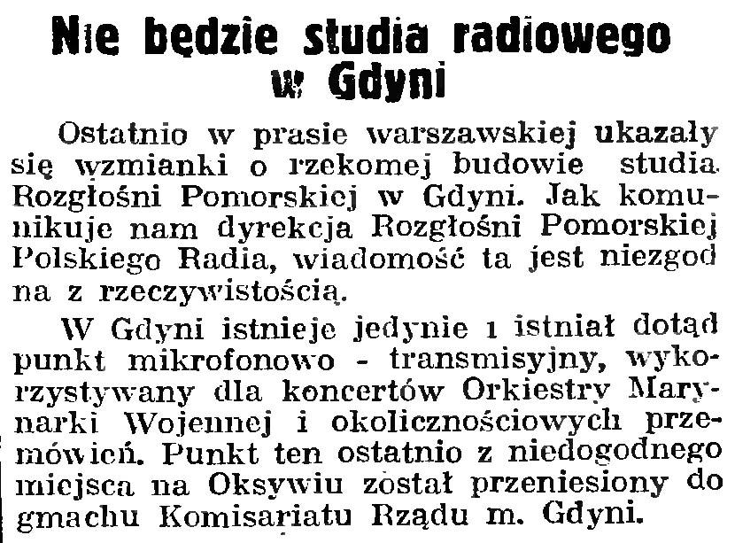 Nie będzie studia radiowego w Gdyni // Gazeta Gdańska. - 1939, nr 252, s. 8