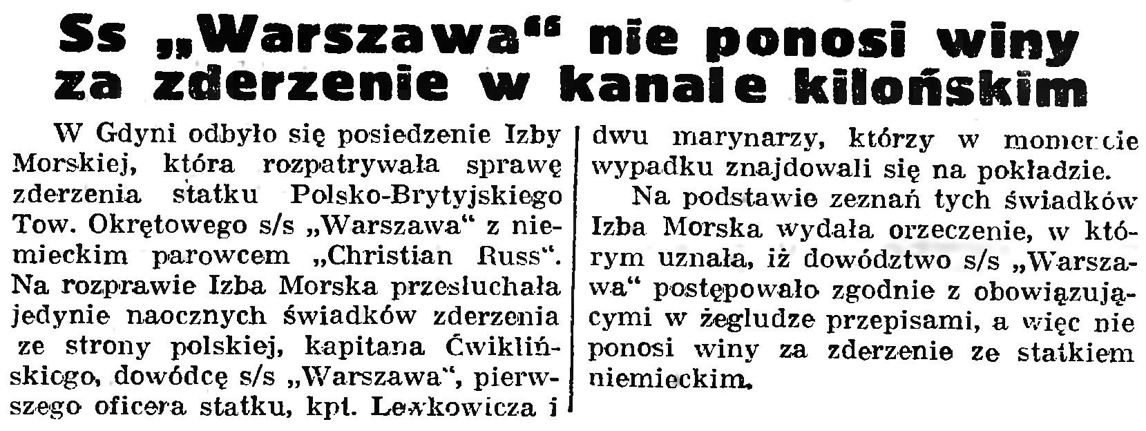 """Ss """"Warszawa"""" nie ponosi winy za zderzenie w kanale kilońskim // Gazeta Gdańska. - 1939, nr 9, s. 8"""