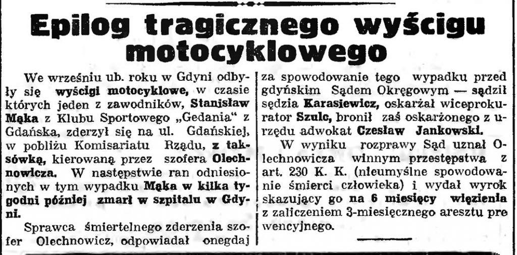 Epilog tragicznego wyścigu motocyklowego // Gazeta Gdańska. - 1937, nr 4, s. 13
