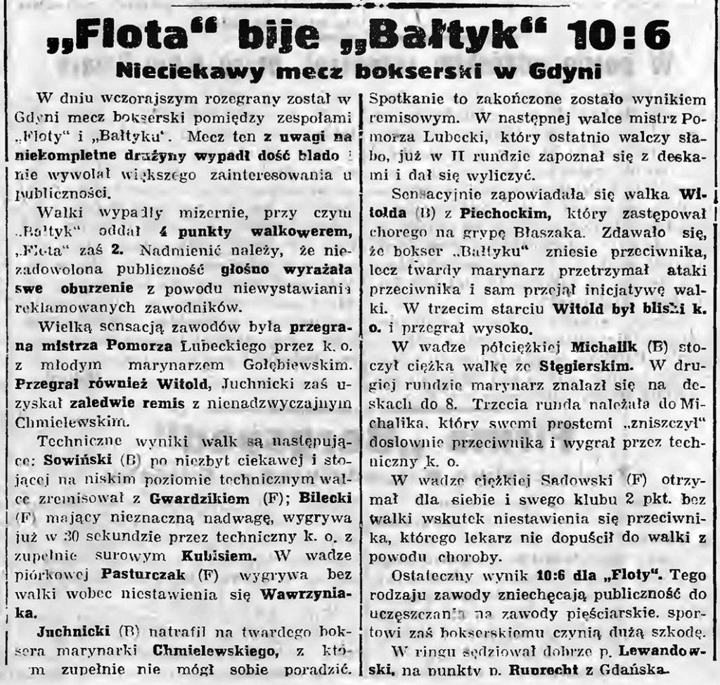 Flota bije Bałtyk 10 6. Nieciekawy mecz bokserski w Gdyni