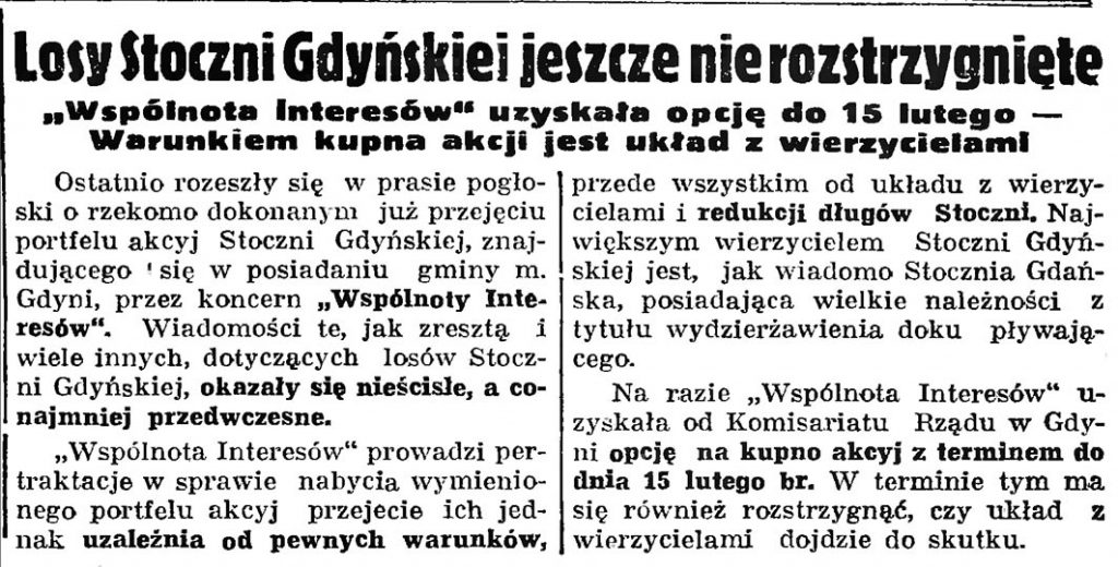 """Losy Stoczni Gdyńskiej jeszcze nie rozstrzygnięte. """"Wspólnota Interesów"""" uzyskała opcję do 15 lutego - Warunkiem kupna akcji jest układ z wierzycielami // Gazeta Gdańska. - 1937, nr 5, s. 13"""