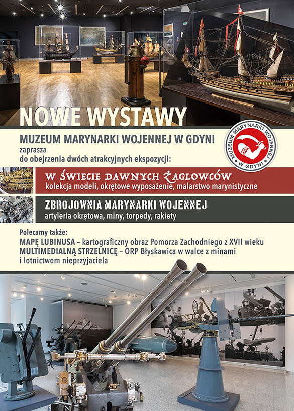 NOWE WYSTAWY plakat Muzeum Marynarki Wojennej