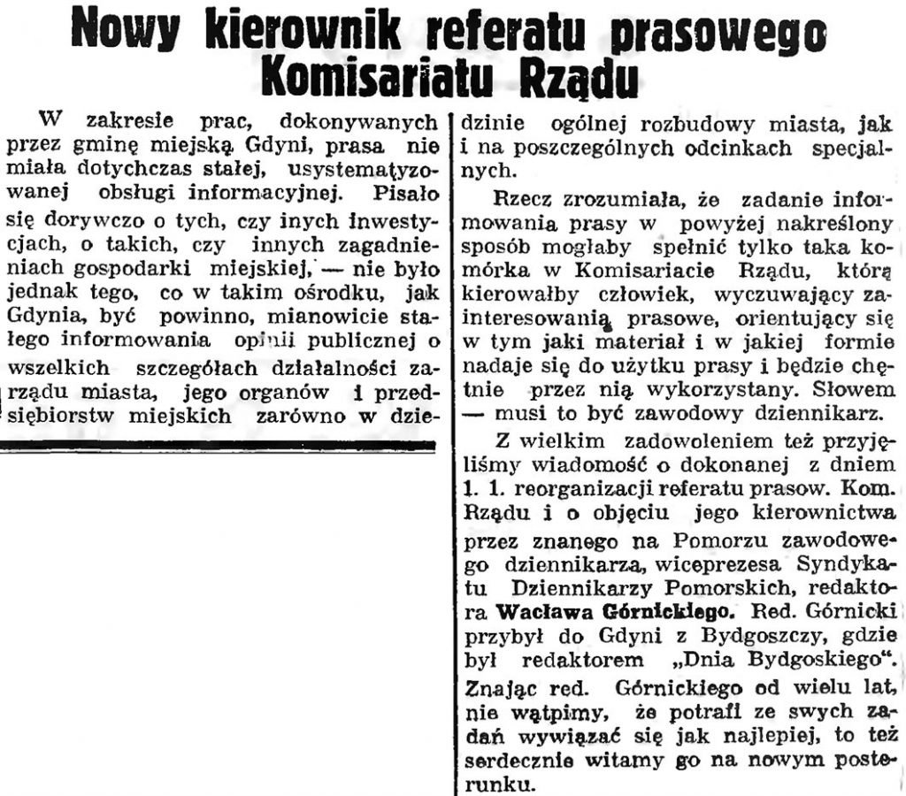 Nowy kierownik referatu prasowego Komisariatu Rządu // Gazeta Gdańska. - 1937, nr 4, s. 13