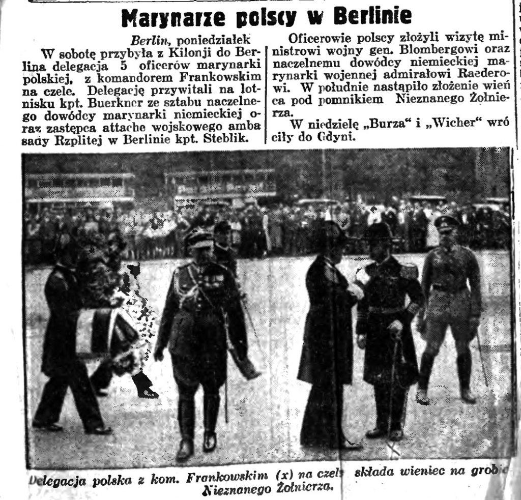 Marynarze polscy w Berlinie // Słowo Pomorskie. - 1935, nr 149, s. 1