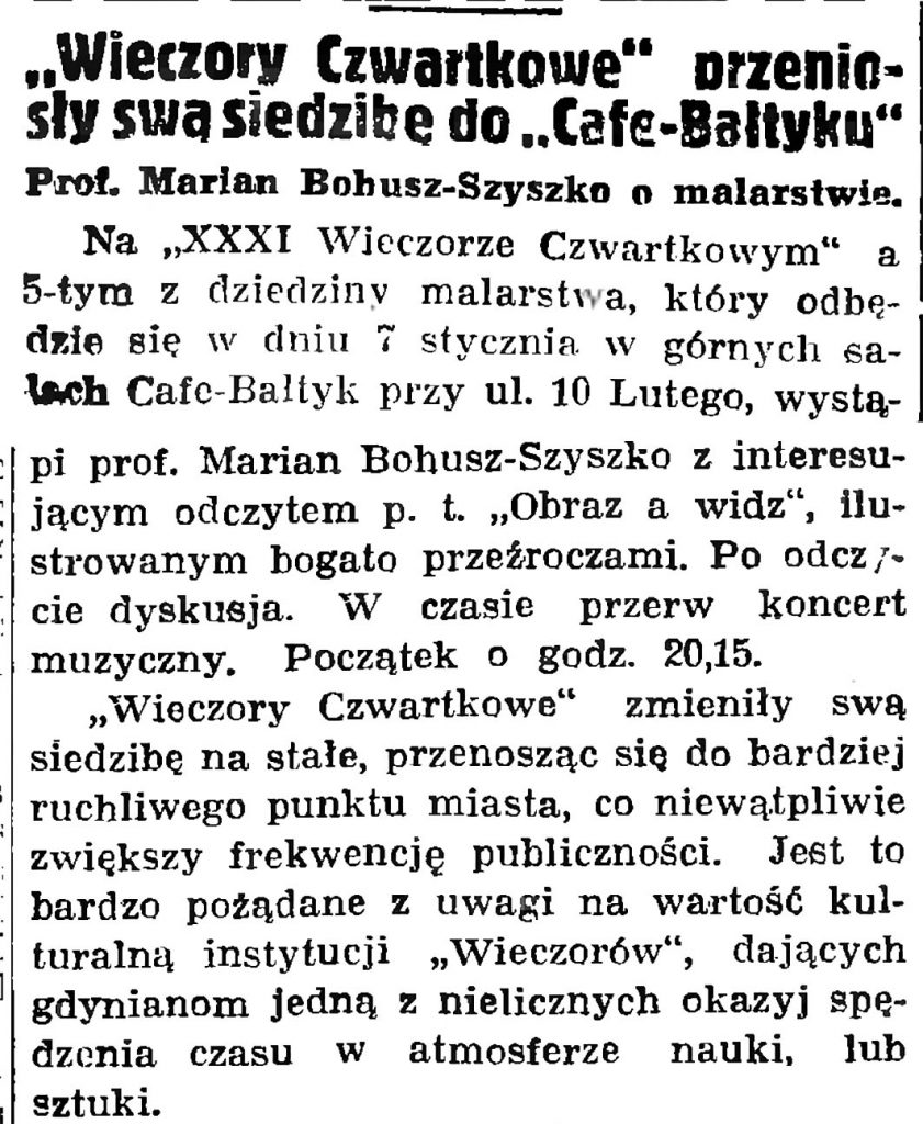"""""""Wieczory Czwartkowe"""" przeniosły swą siedzibę do """"Cafe-Bałtyku"""" // Gazeta Gdańska. - 1937, nr 4, s. 13"""