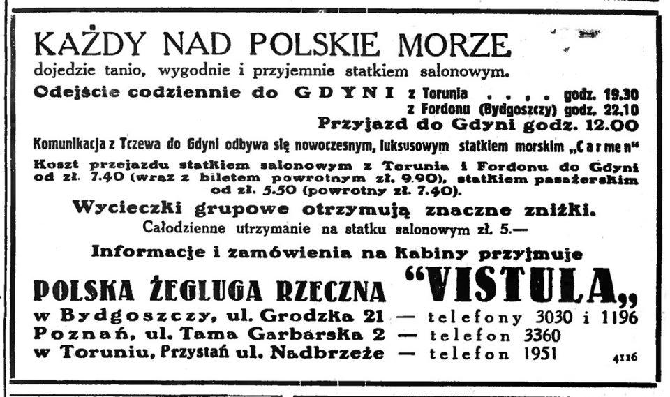 """KAŻDY NAD POLSKIE MORZE dojedzie tanio, wygodnie i przyjemnie statkiem salonowym. Informacje i zamówienia na kabiny przyjmuje POLSKA ŻEGLUGA RZECZNA """"VISTULA"""" // Gazeta Gdańska. - 1935, nr 105, s. 18"""
