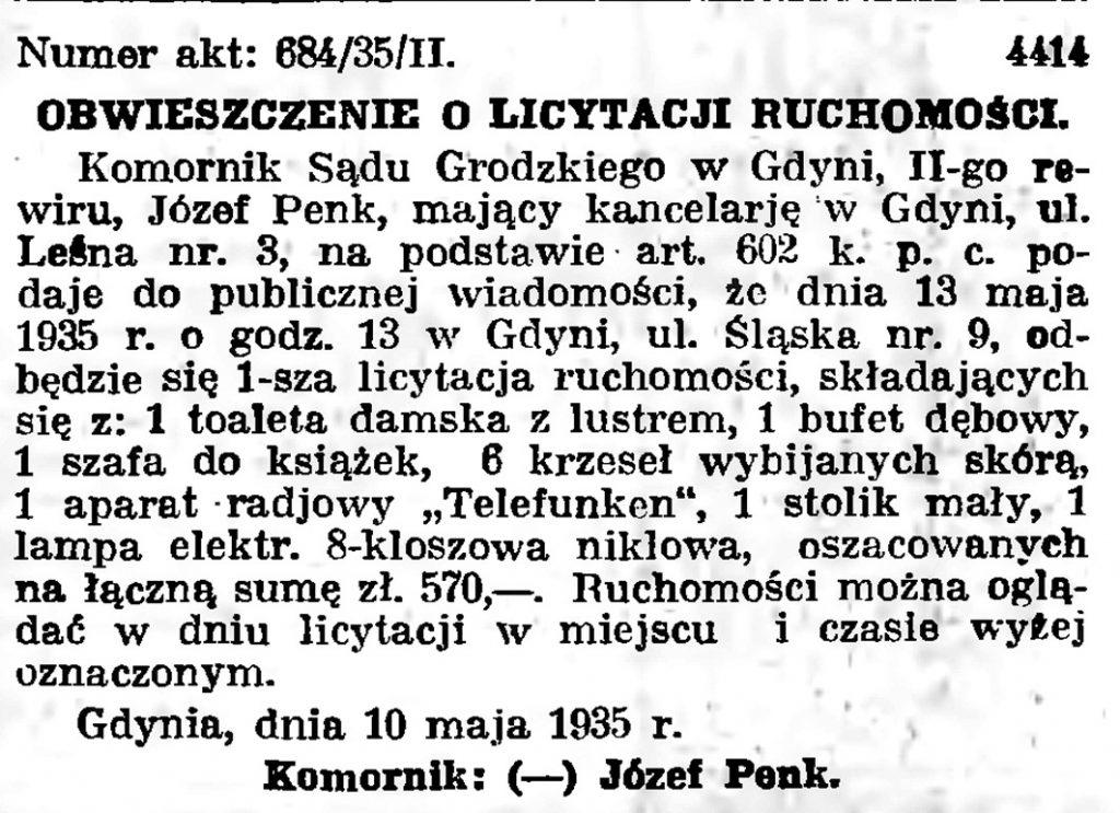 Obwieszczenie o licytacji nieruchomości {1935]