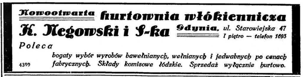 Nowootwarta hurtownia włókiennicza K. Megowski i S-ka Gdynia, ul. Starowiejska 47 // Gazeta Gdańska. - 1935, nr 105, s. 16
