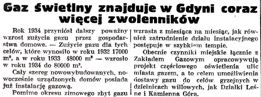 Gaz świetlny znajduje w Gdyni coraz więcej zwolenników // Gazeta Gdańska. - 1935, nr 21, s. 8