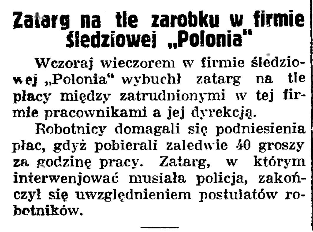 """Zatarg na tle zarobku w firmie śledziowej """"Polonia"""" // Gazeta Gdańska. - 1935m nr 26, s. 8"""