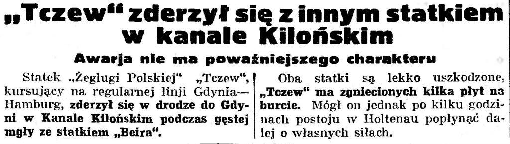 """""""Tczew"""" zderzył się z innym statkiem w kanale Kilońskim. Awarja nie ma poważniejszego charakteru // Gazeta Gdańska. - 1935, nr 29, s. 5"""