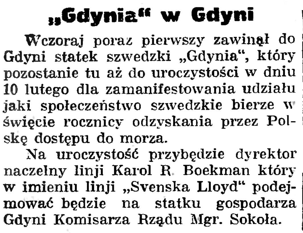 """""""Gdynia"""" w Gdyni // Gazeta Gdańska. - 1935, nr 30, s. 8"""