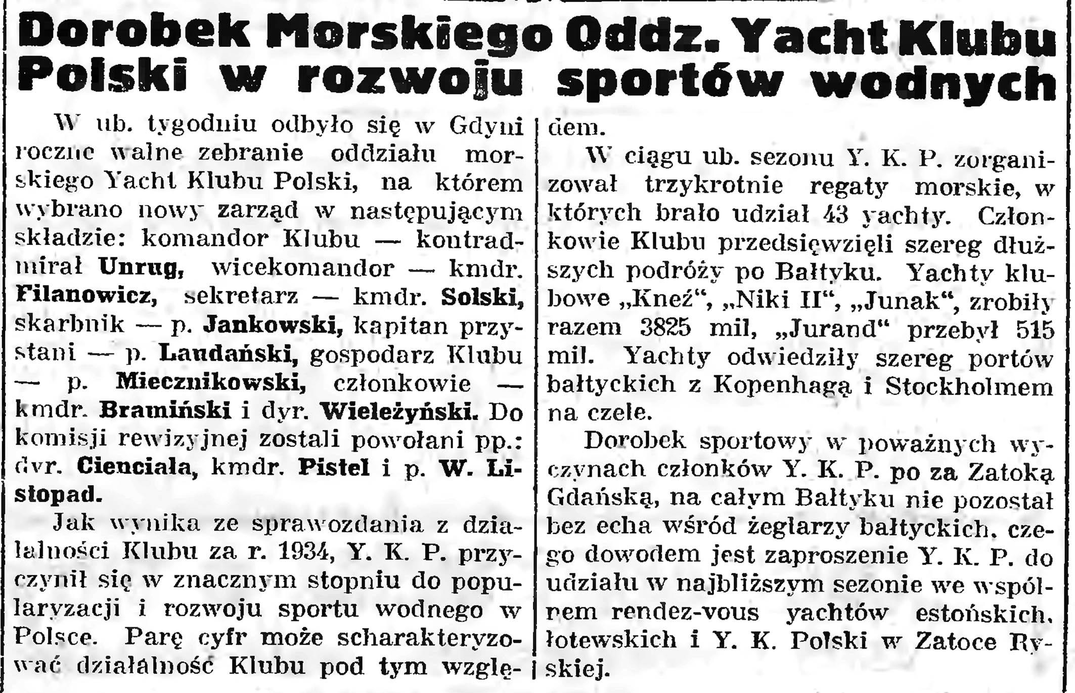 Dorobek Morskiego Oddz. Yacht Klubu Polski w rozwoju sportów wodnych // Gazeta Gdańska. - 1935, nr 47, s. 5