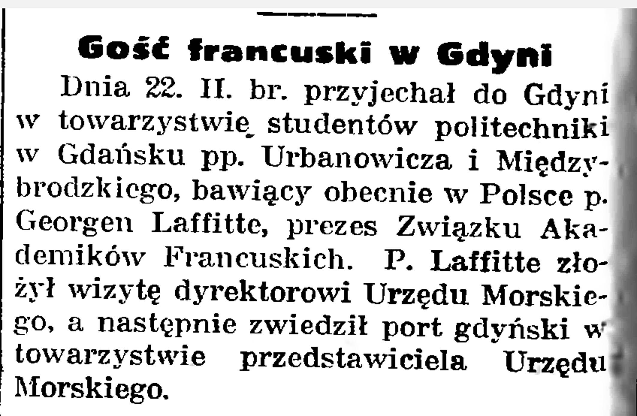 Gość francuski w Gdyni // Gazeta Gdańska. - 1935, nr 47, s. 8