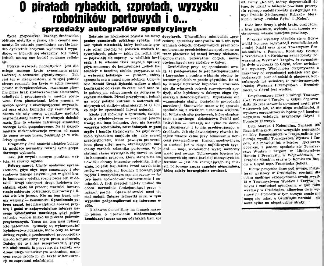 O piratach rybackich, szprotach, wyzysku robotników portowych i o ... sprzedaży autografów spedycyjnych // Gazeta Gdańska. - 1935, nr 50, s. 7
