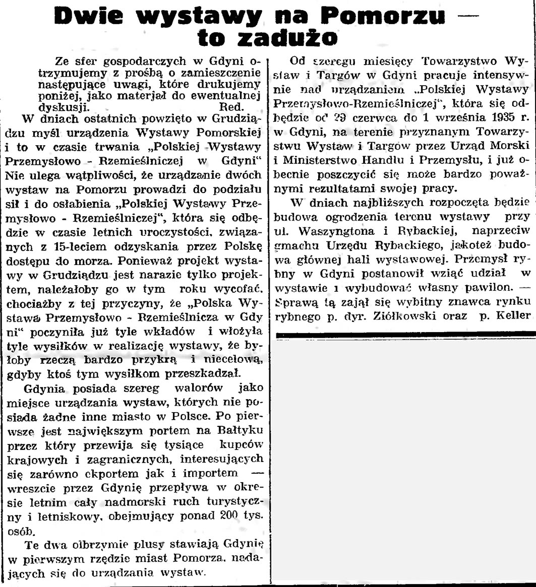Dwie wystawy na Pomorzu - to za dużo // Gazeta Gdańska. - 1935, nr 50, s. 7