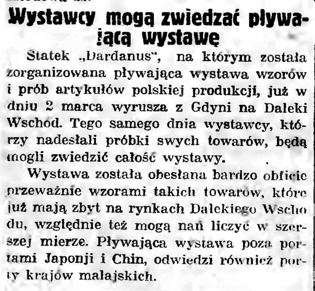 Wystawcy mogą zwiedzać pływającą wystawę // Gazeta Gdańska. - 1935, nr 50, s. 9