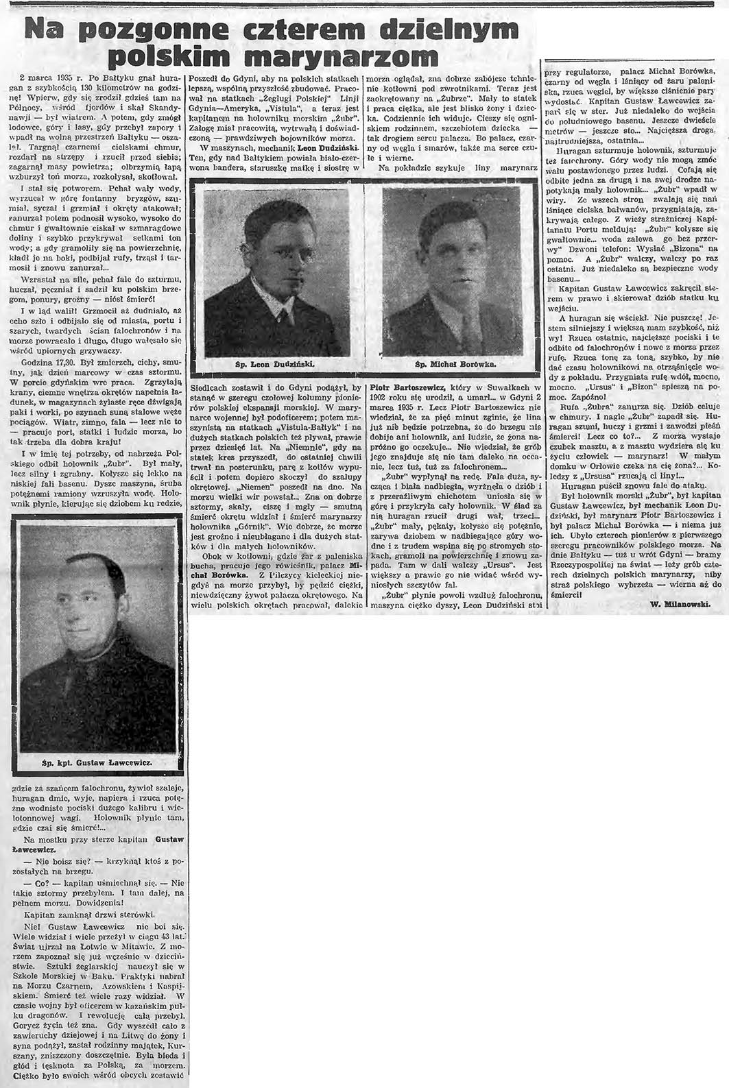 Na pozgonne czterem dzielnym polskim marynarzom // Gazeta Gdańska. - 1935, nr 56, s. 3. - Portr.