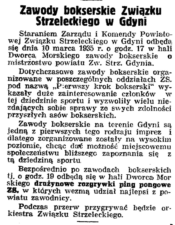 Zawody bokserskie Związku Strzeleckiego w Gdyni // Gazeta Gdańska. - 1935, nr 57, s. 8