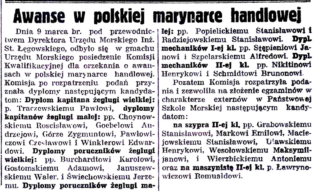 Awanse w polskiej marynarce handlowej // Gazeta Gdańska. - 1935, nr 59, s. 5