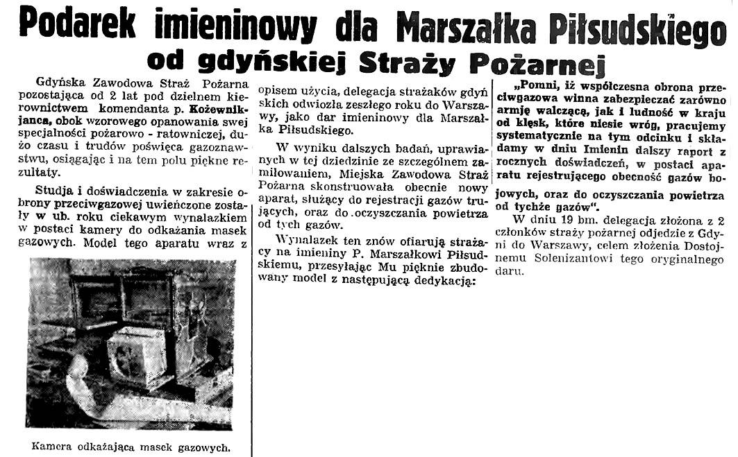 Podatek imieninowy dla Marszałka Piłsudskiego od gdyńskiej Straży Pożarnej // Gazeta Gdańska. - 1935, nr 66, s. 7
