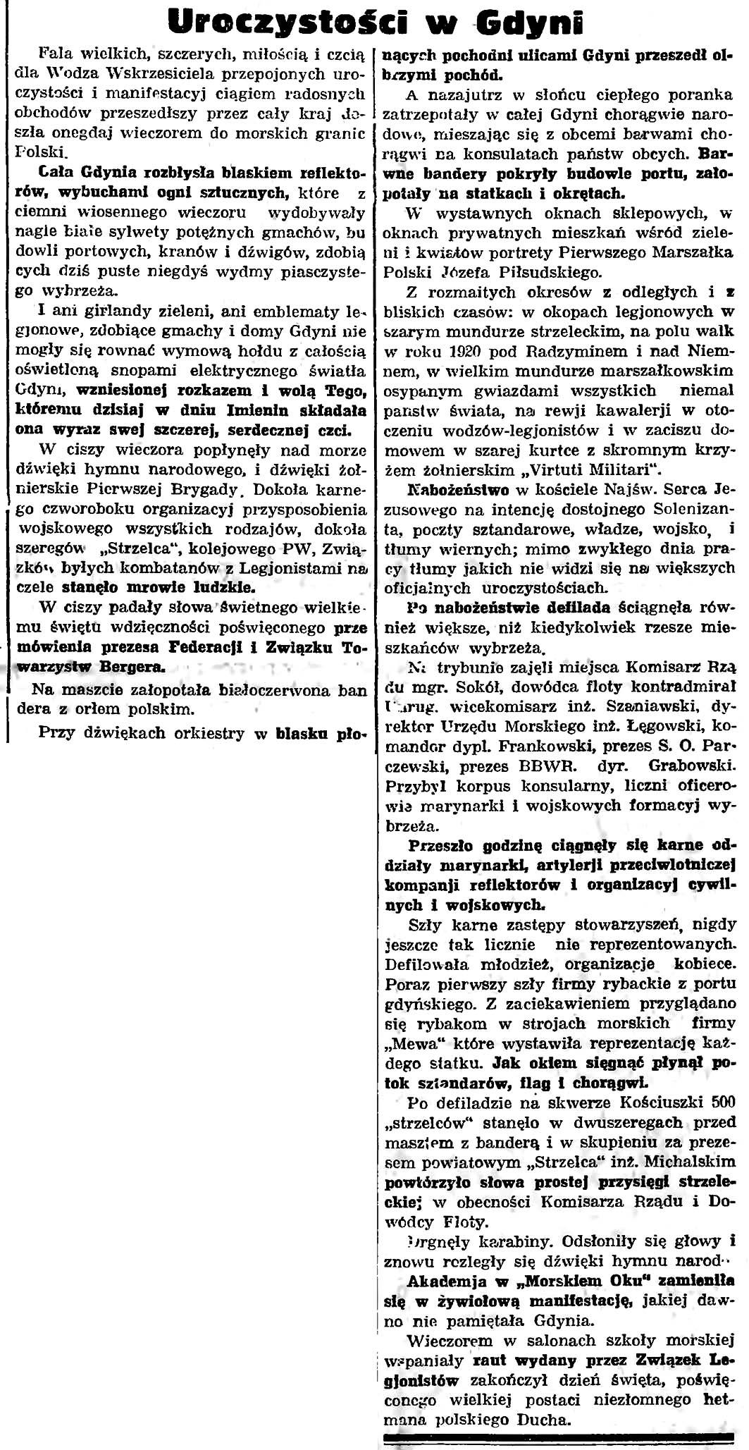 Uroczystości w Gdyni // Gazeta Gdańska. - 1935, nr 67, s. 3