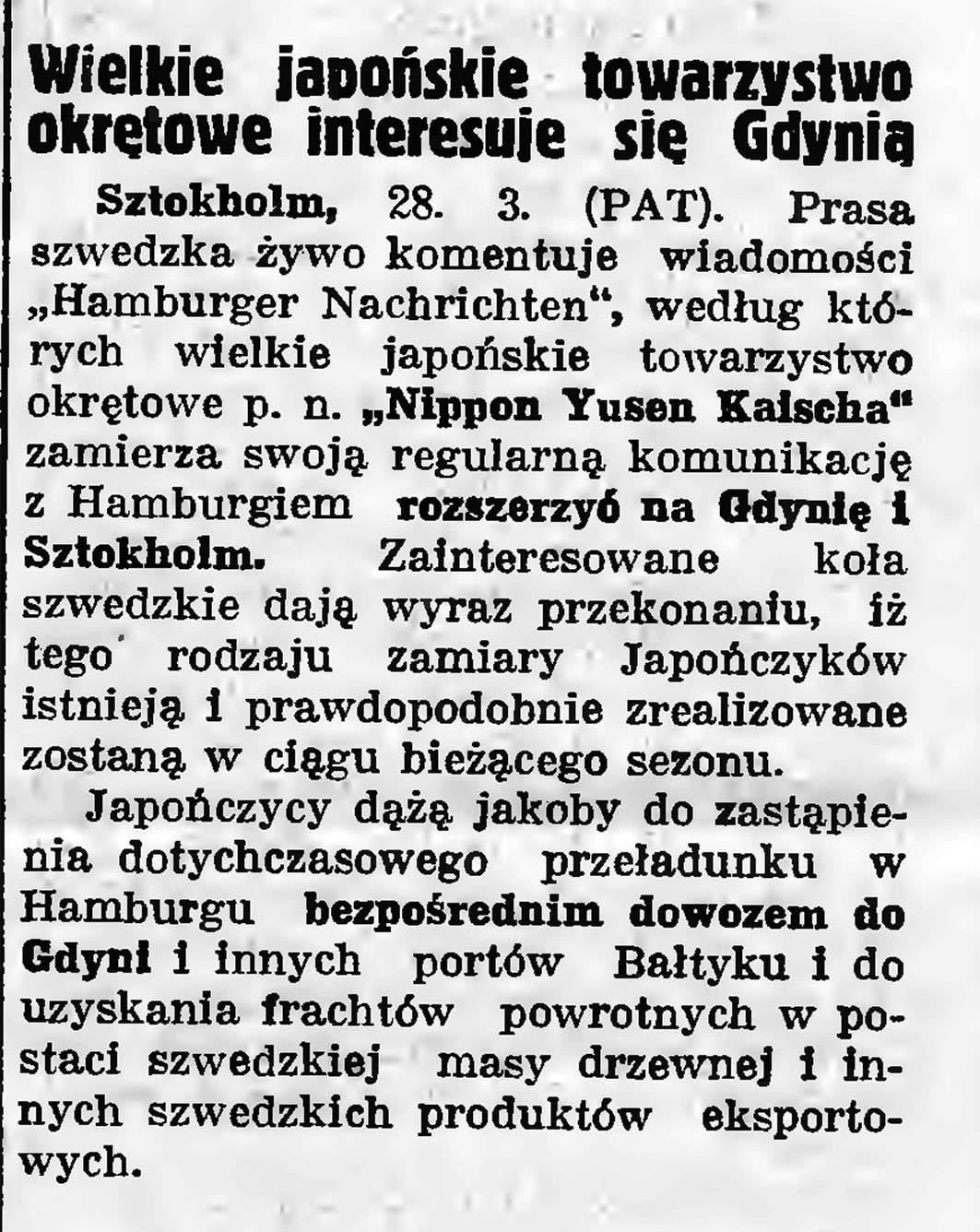 Wielkie japońskie towarzystwo okrętowe interesuje się Gdynią // Gazeta Gdańska. - 1935, nr 72, s. 2