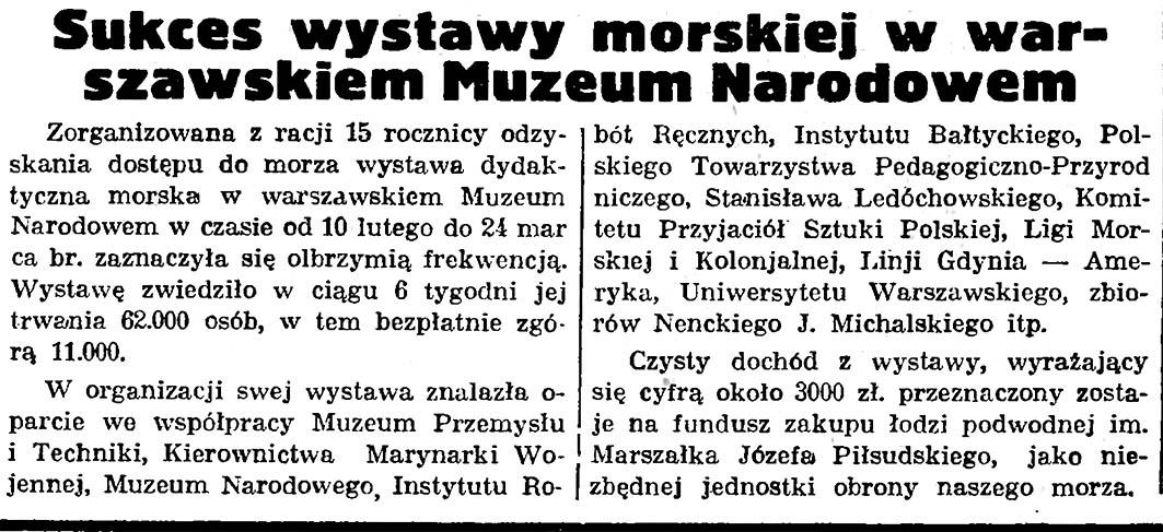 Sukces wystawy morskiej w warszawskiem Muzeum Narodowem // Gazeta Gdańska. - 1935, nr 76, s. 4