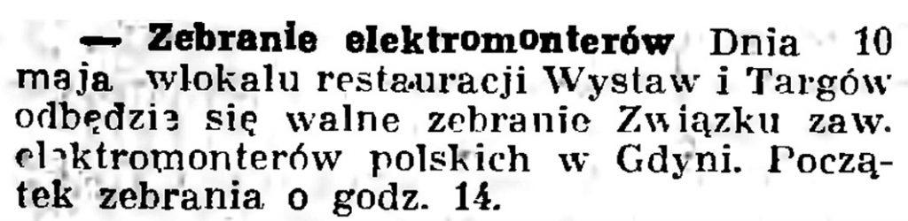 Zebranie elektromonterów // Gazeta Gdańska. - 1936, nr 104, s. 8