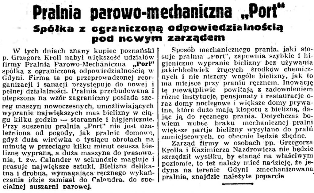 """Pralnia parowo-mechaniczna  """"Port"""" Spółka z ograniczoną odpowiedzialnością pod nowym zarządem // Gazeta Gdańska. - 1936, nr 104, s. 8"""