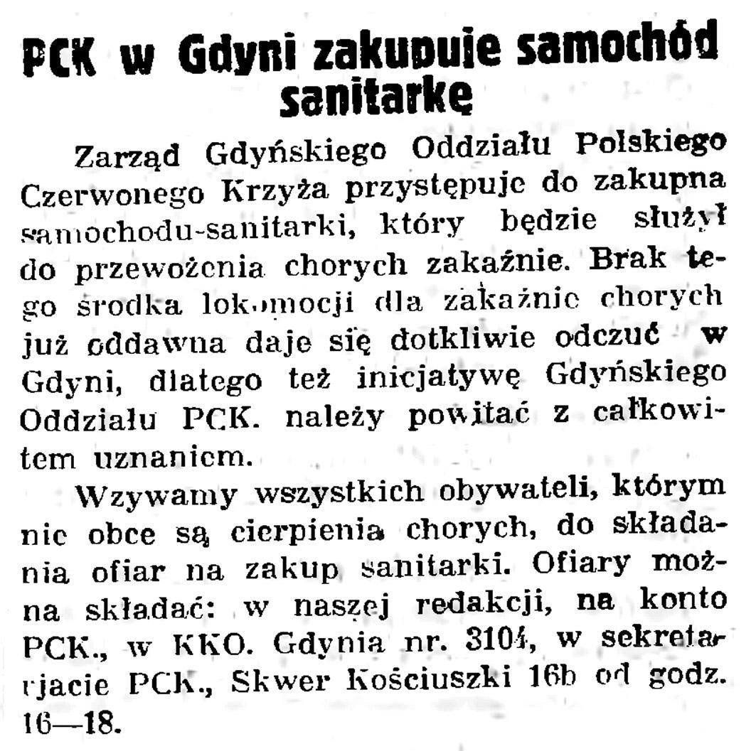 PCK w Gdyni zakupuje samochód sanitarkę // Gazeta Gdańska. - 1936, nr 104, s. 8
