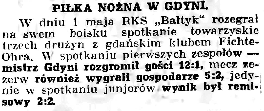 Piłka nożna w Gdyni // Gazeta Gdańska. - 1936, nr 104, s. 8