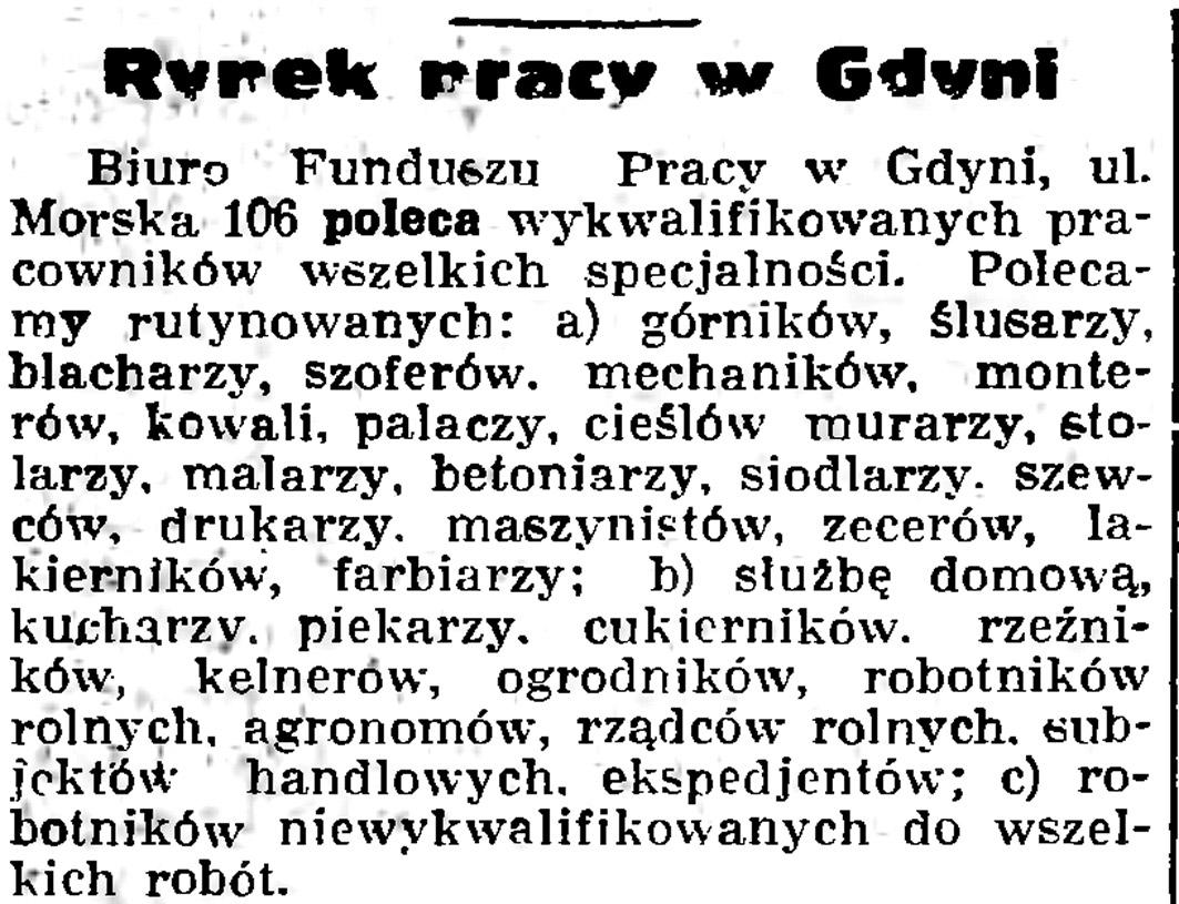 Rynek pracy w Gdyni // Gazeta Gdańska. - 1936, nr 104 s. 8