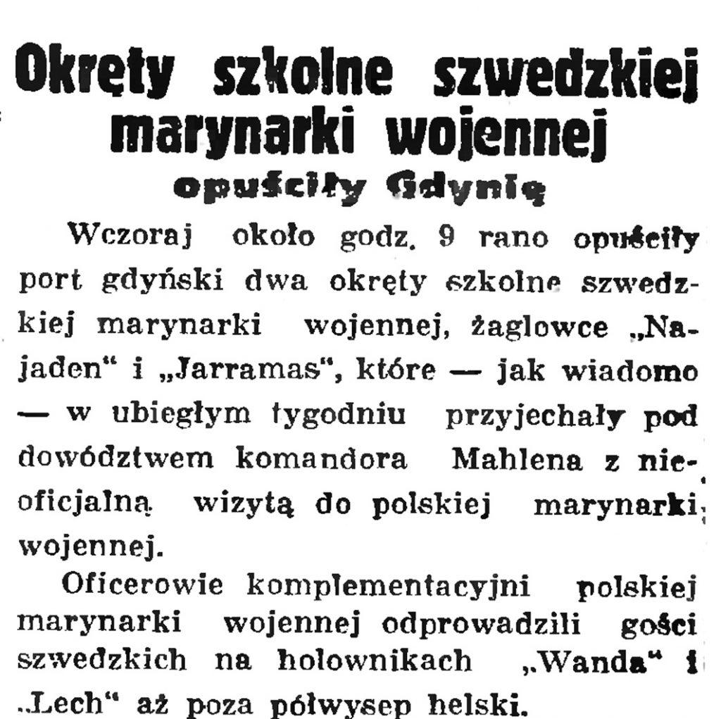 Okręty szkolne szwedzkiej marynarki wojennej opuściły Gdynię // Gazeta Gdańska. - 1936, nr 148, s. 1