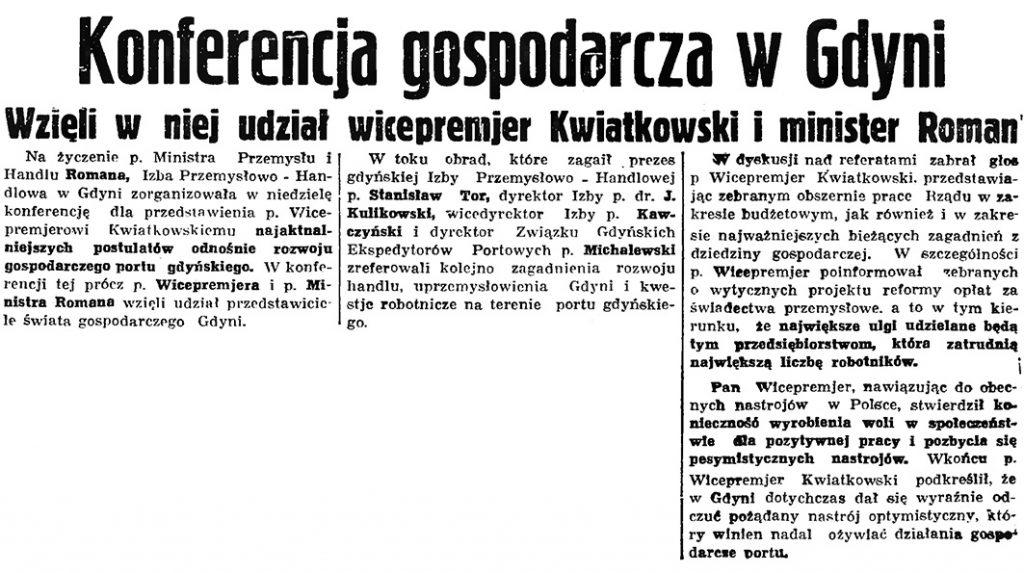 Konferencja gospodarcza w Gdyni. Wzięli w niej udział wicepremjer Kwiatkowski i minister Roman // Gazeta Gdańska. - 1936, nr 148, s. 1