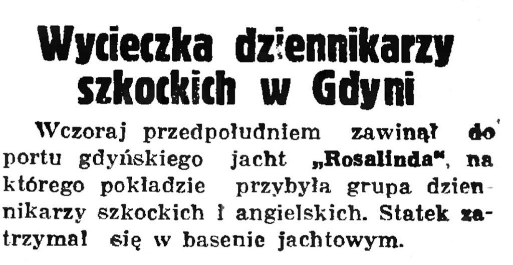 Wycieczka dziennikarzy szkockich w Gdyni // Gazeta Gdańska. - 1936, nr 148, s. 1