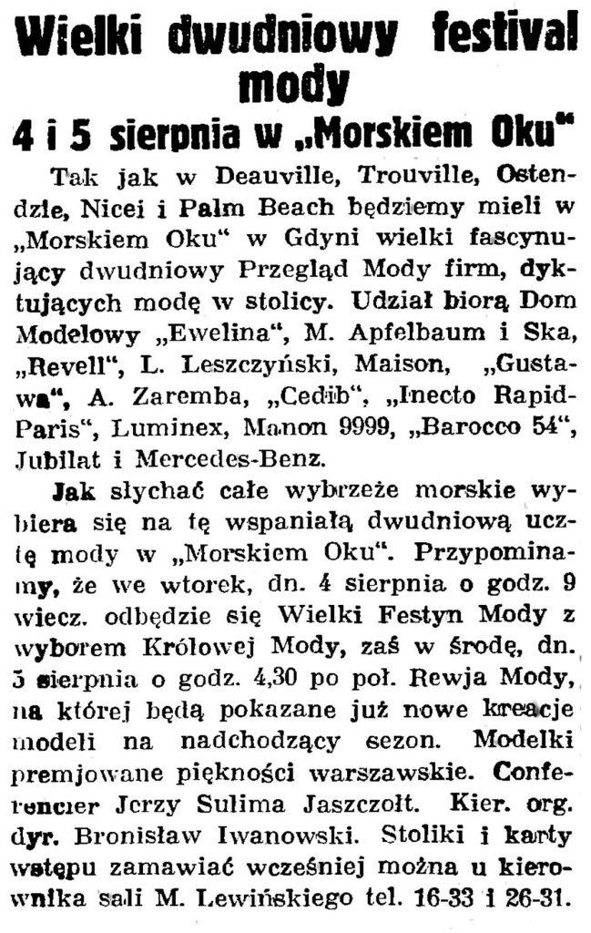 """Wielki dwudniowy festiwal mody 4 i 5 sierpnia w """"Morskim Oku"""" // Gazeta Gdańska. - 1936, nr 174, s. 9"""