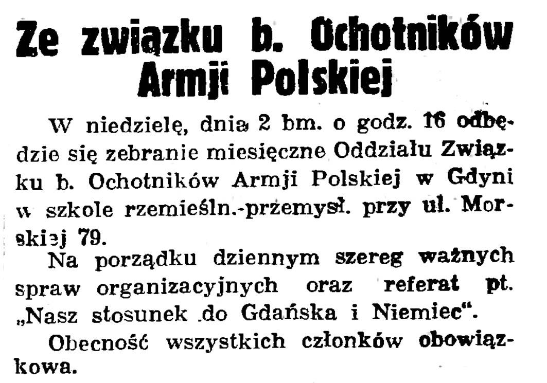 Ze związku b. Ochotników Armji Polskiej // Gazeta Gdańska. - 1936, nr 174, s. 12