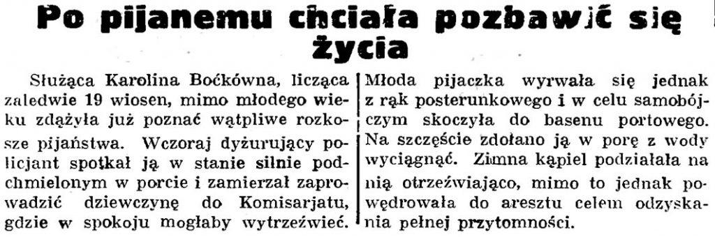 Po pijanemu chciała pozbawić się życia // Gazeta Gdańska. - 1936, nr 174, s. 12