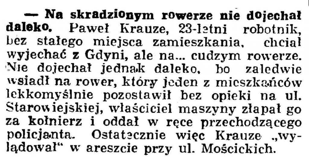 Na skradzionym rowerze nie dojechał daleko // Gazeta Gdańska. - 1936, nr 174, s. 12