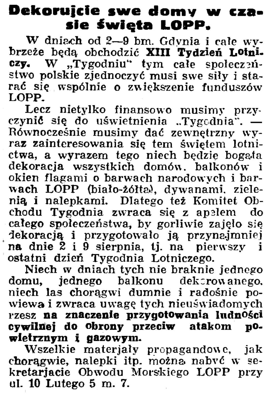 Dekorujcie swe domy w czasie święta LOPP // Gazeta Gdańska. - 1936, nr 174, s. 12