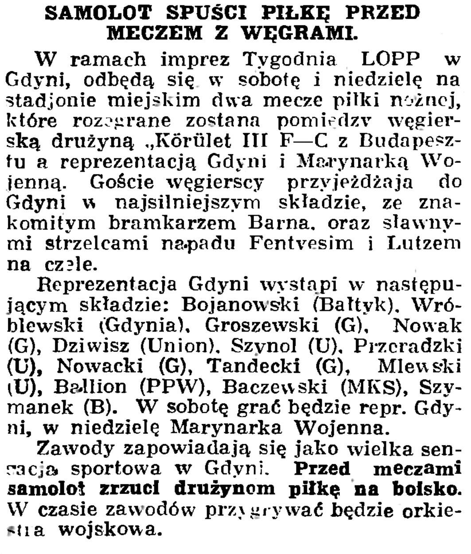 Samolot spuści piłkę przed meczem z Węgrami // Gazeta Gdańska. - 1936, nr 174, s. 12